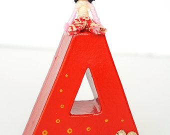 Letter A red 10cm, decor for kids, initial name, for laughter Rainbow