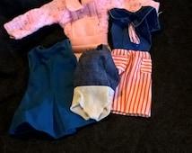 Small lot of Vintage MOD Barbie sized clothes, sailor dress, sweater dress, swim suit, A-Line dress