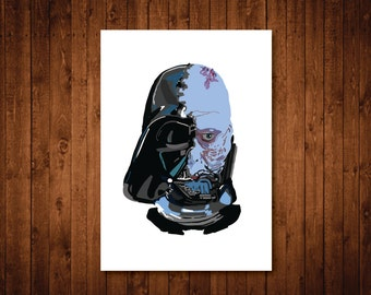 Darth Vader art, Star wars art print, Darth Vader unmasked