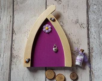 Beautiful Handmade Pine Fairy Door Purple Every home should have one