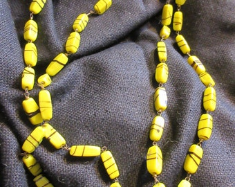 Flapper art glass bead necklace, 1920's, Downton Abbey, vintage, long, yellow hand made beads