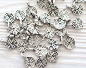 15pc silver disc beads, earring charms, disc charm, spiral beads, coin beads, metal charms, mini charms, silver coins, mini disc,coin charms