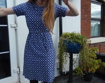 1970s San Paula blue/white/black geo-print dress