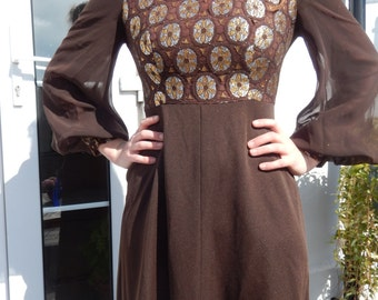 Morvic designer gold/silver metallic bodice brown 1970s maxi dress