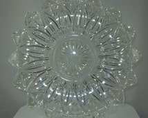 "Vintage Large Federal Glass Petal Pattern Plate, Serving Plate 11 1/2"" Diameter"