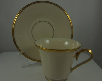 """LENOX Vintage Eternal Cup and Saucer """"Dimension"""" Collection Ivory with Gold Trim"""