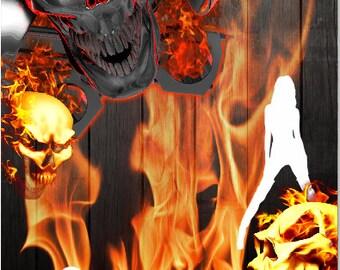 Gear Head Skull Flames LAMINATED Cornhole Wrap Bag Toss Decal Baggo Skin Sticker Wraps