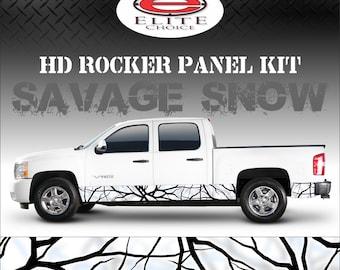 "Savage Snow Camo Rocker Panel Graphic Decal Wrap Truck SUV - 12"" x 24FT"