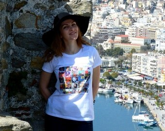CUBAN ART white tee - womens clothing - Cuba gifts - made in Bulgaria - unique design by ©WhenWomanTravels