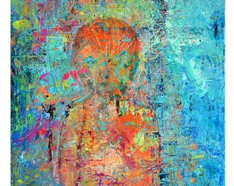 The Child Within, abstract portrait print, Giclee, Fine Art Print, modern painting, wall art print, contemporary art print, portrait art