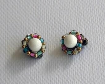 Vintage Sweet Clip On Beaded Earrings