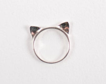 Cat Ears Ring Sterling Silver. Kitten ears ring. Womens band. Modern. Minimalist. Animals. Thin band. Dainty. Cute.
