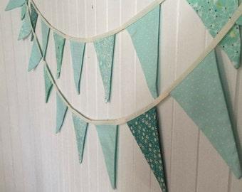Fabric Bunting - Aqua & Turquoise