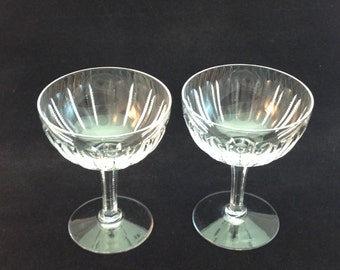 Two Cut Crystal Champagne Glasses