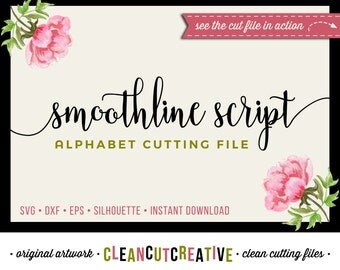 Full Alphabet SVG Fonts Cutfile - Modern Handwritten Script cricut font - Studio3 DXF EPS - Silhouette Cameo - clean cutting digital files
