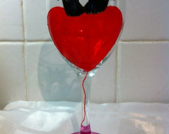 Cute Kittens On Heart Shaped Balloon Hand Painted Wine Glass