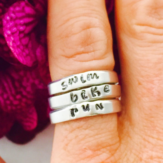 Stacking Rings, Stackable Rings, Swim Bike Run, Triathlon Jewelry, Triathlon Gifts, Hand Stamped Rings, Custom Rings, Sports Fitness Jewelry