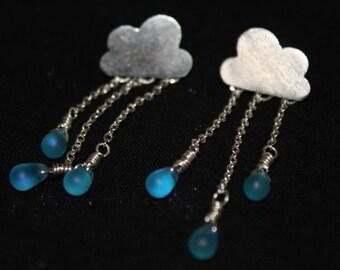 Silver Raincloud Earrings, Dangling Raindrop Earrings, Handcrafted Sterling Silver Rain Earrings