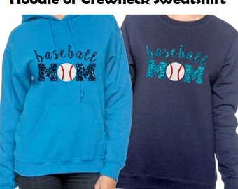 Glitter Baseball Mom Hoodie, Baseball Mom Sweatshirt, Choose Your Colors, Baseball Mom Shirts