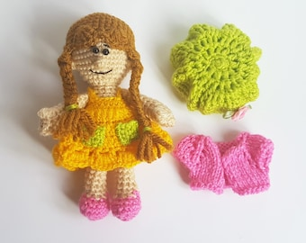 Crochet doll Amigurumi doll Art Doll present for girls gift for girl doll clothes clothing  handmade doll toy for girls waldorf toy