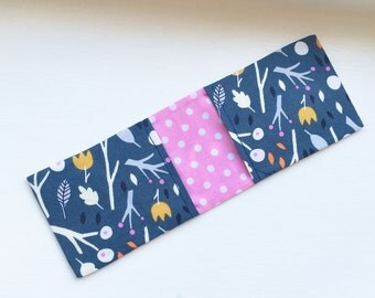 Navy Business Card Holder / Oyster Card Holder / Credit Card Wallet - with Woodland Print