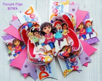 Dora and friends inspired bow-Dora and Friends Hair bow-Dora Hair Bow-Dora and Friends Birthday-Dora & Friends Party-Dora OTT Bow