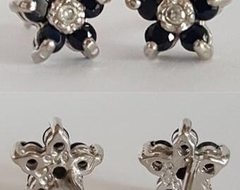 Black Diamond Flower Cluster Earrings