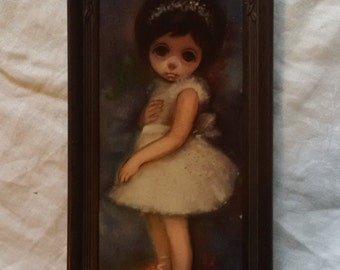 Big-eyed ballerina picture in plastic frame