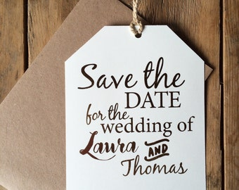 Gold foil Save the date luggage tag, rustic save the date, gold foil save the date, modern save the date