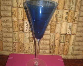 Set of Two Cobalt Bue Wine Glasses