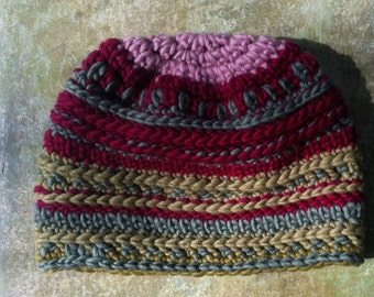 Crocheted Razberry Beanie Hat for Girls