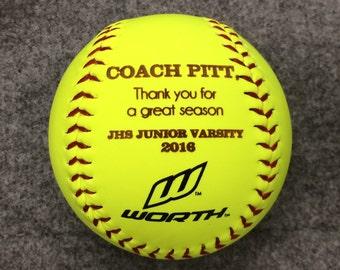 Personalized Softball, Softball Coach Gift, Custom Message Softball, Softball Dad, Softball Mom, Softball Gift, Fathers Day, Birthday