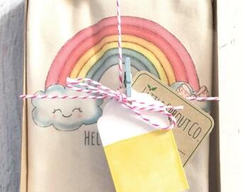 Rainbow Baby Bodysuit, Certified Organic Cotton Bodysuit, Hello Sunshine, Baby Girl Clothes, Organic Baby Clothes, Baby Girl Gift Gift