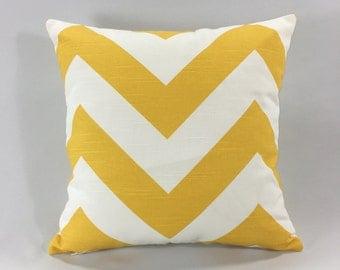 Yellow Chevron Pillow Cover - Zippy Corn Yellow Print - Decorative Throw Pillow Cover - Chevron Accent Pillow - Hidden Zipper - Custom Sizes