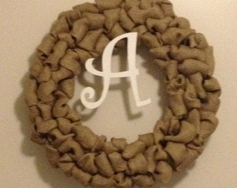 Burlap Wreath w/ Initial - Large