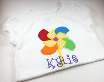 Personalized Pinwheel Shirt, Monogrammed Pinwheel Shirt, Embroidered Pinwheel Shirt, Personalized Summer Shirt for Little Girl
