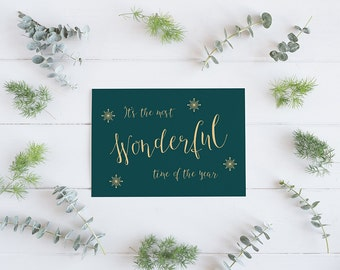 Pack of 5 Christmas cards, Merry Christmas card, Most Wonderful time of the year, Happy Christmas card, Modern Calligraphy christmas card