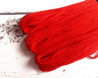 Cotton embroidery thread red skein   8 meters / 26 Foot   Duchess Colourfast cotton thread   Embroidery Floss  