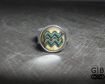 Aquarius Zodiac Sign Ring With Adjustable Band - Aquarius Zodiac Sign Jewelry Ring - Aquarius Gift Jewelry Ring - Gift For Aquarius Ring