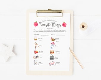 """New Teacher's """"Favorite Things""""- Apples- New Teacher Getting To Know You Printable- Digital File- New Teacher Printable"""