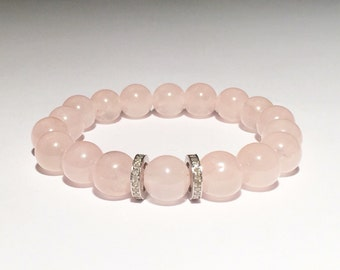 Rose quartz and 0,44 carat diamond bracelet