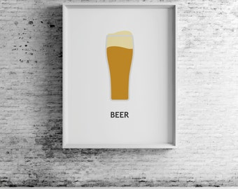 Beer digital print, beer art, beer print, beer wall art, beer prints, beer poster,  beer decor, beer design, compassionprints