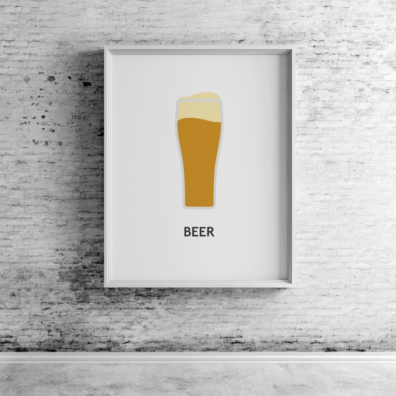Beer Digital Print Beer Art Beer Print Beer Wall Art Beer