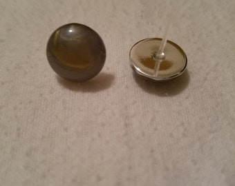 Lavender and Gold Round Post Earrings