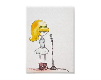 Alley Can Sing On Key -Handmade Watercolor Print