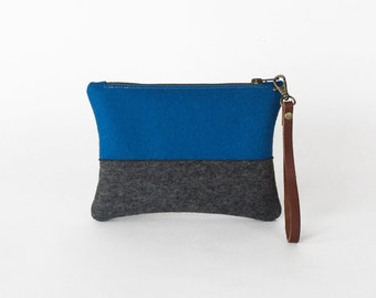 Blue and Gray Wool Felt Zipper Wristlet | Felt Pouch