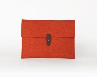 Orange Wool Felt Envelope Clutch | iPad Clutch