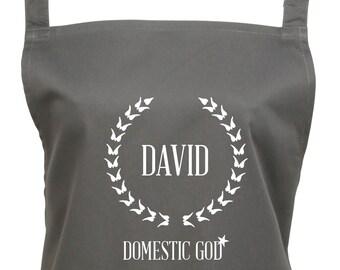 Personalized Domestic God Apron, House Husband Apron, Men's CustomApron With Pocket, 16 Colours, 1033