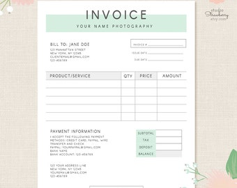 Invoice Template, Photography Invoice, Business Invoice, Receipt Template  For Photographers, Photography Forms  Business Receipts Templates