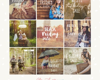 Black Friday Photography overlays, Black Friday Sale, photoshop overlay, social media template, hand letter, Black Friday marketing template